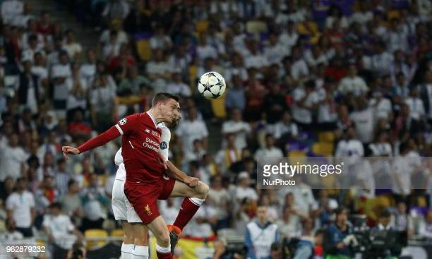 Liverpool's Dejan Lovren in the fight for the ball during the final match of the Champions League between Real Madrid and Liverpool at the Olympic...