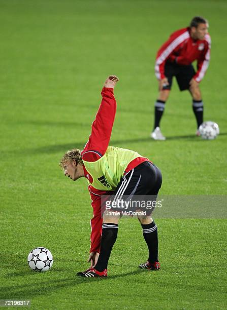 Liverpool's Dirk Kuyt warms up during Liverpool training prior to tomorrow's Champions League Group C match against Bordeaux on October 17 2006 at...