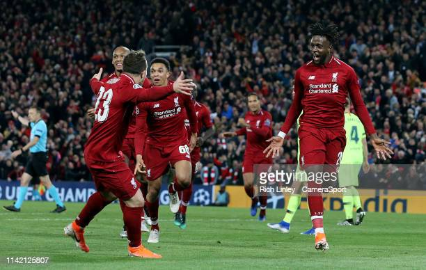 Liverpool's Divock Origi celebrates scoring his side's fourth goal during the UEFA Champions League Semi Final second leg match between Liverpool and...