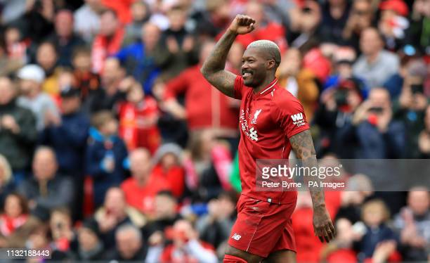 Liverpool's Djibril Cisse celebrates scoring his side's second goal of the game during the Legends match at Anfield Stadium Liverpool