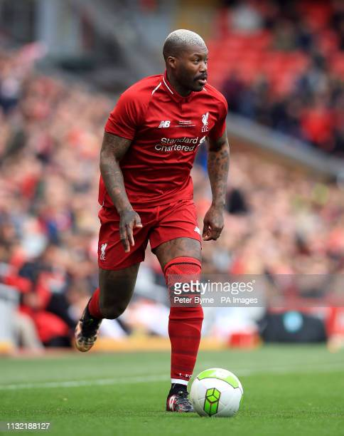 Liverpool's Djibril Cisse during the Legends match at Anfield Stadium Liverpool