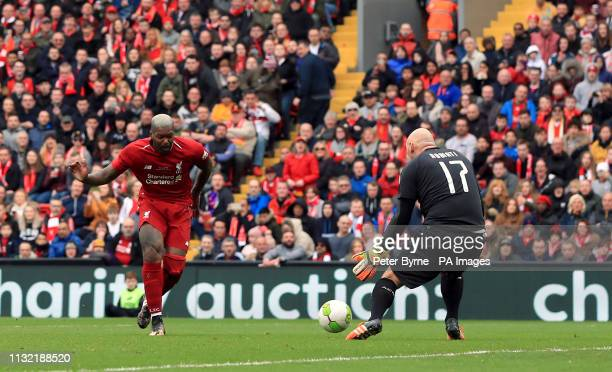 Liverpool's Djibril Cisse scores his side's second goal of the game during the Legends match at Anfield Stadium Liverpool