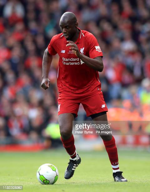 Liverpool's Djimi Traore during the Legends match at Anfield Stadium Liverpool