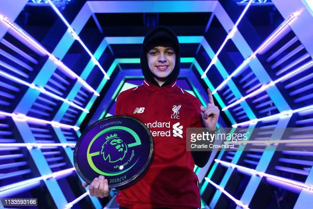 Liverpool's Donovan Hunt 'F2Tekkz' celebrates winning the grand final during day two of the 2019 ePremier League Finals at Gfinity Arena on March 29...