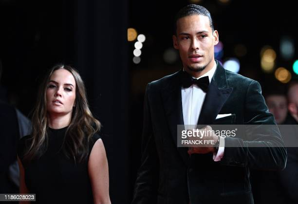 Liverpool's Dutch defender Virgil van Dijk and his wife Rike Nooitgedagt arrive to attend the Ballon d'Or France Football 2019 ceremony at the...