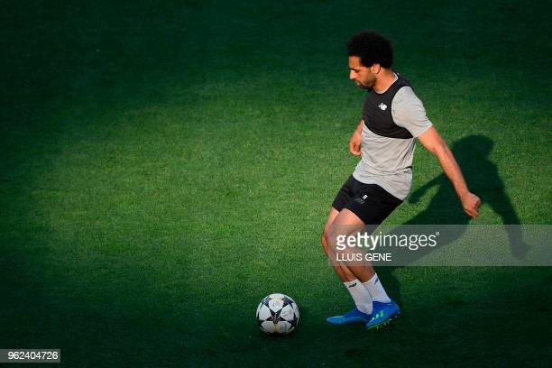 Liverpool's Egyptian forward Mohamed Salah controls the ball during a Liverpool team training session at the Olympic Stadium in Kiev Ukraine on May...