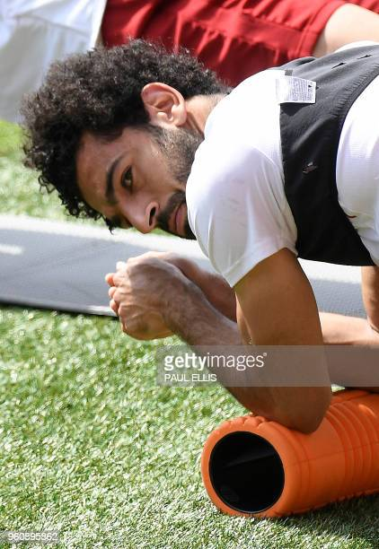 Liverpool's Egyptian midfielder Mohamed Salah attends a training session and media day at Anfield stadium in Liverpool north west England on May 21...