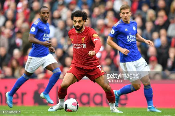 Liverpool's Egyptian midfielder Mohamed Salah contrls the ball during the English Premier League football match between Liverpool and Leicester City...