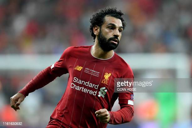 Liverpool's Egyptian midfielder Mohamed Salah during the UEFA Super Cup 2019 football match between FC Liverpool and FC Chelsea at Besiktas Park...