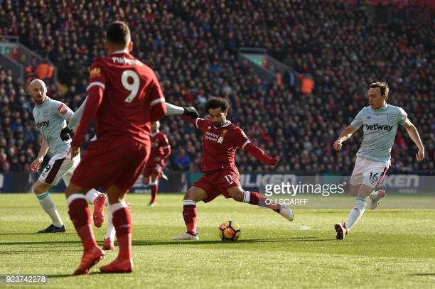 Liverpool's Egyptian midfielder Mohamed Salah on the ball during the English Premier League football match between Leicester City and Stoke City at...