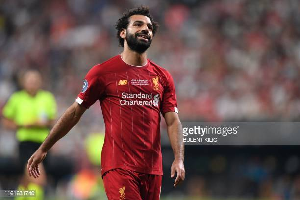 Liverpool's Egyptian midfielder Mohamed Salah reacts during the UEFA Super Cup 2019 football match between FC Liverpool and FC Chelsea at Besiktas...