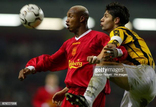 Liverpool's El-Hadji Diouf battles with Vitesse Arnham's Dejan Stefanovic, during their UEFA Cup 3rd Round, 2nd Leg, match at Anfield, Liverpool....