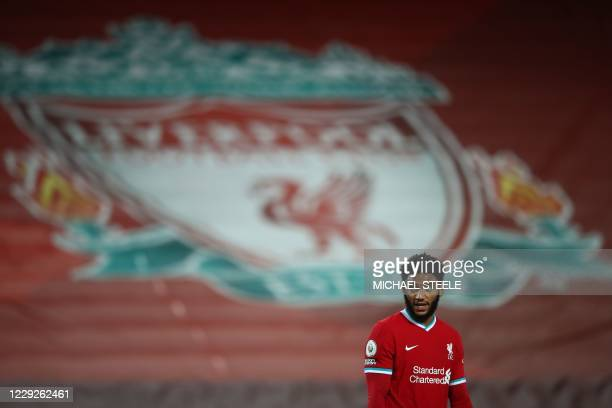 Liverpool's English defender Joe Gomez plays during the English Premier League football match between Liverpool and Sheffield United at Anfield in...