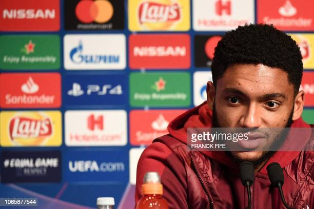 Liverpool's English defender Joe Gomez speaks during a press conference at the Parc des Princes stadium in Paris on November 27 2018 on the eve of...