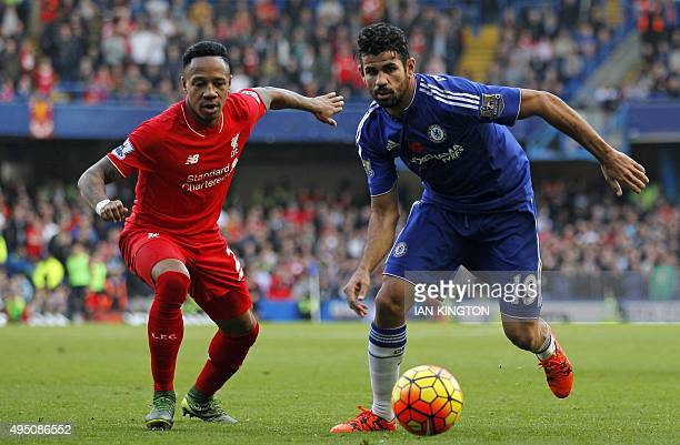 Liverpool's English defender Nathaniel Clyne vies with Chelsea's Brazilianborn Spanish striker Diego Costa during the English Premier League football...