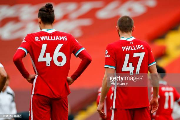 Liverpool's English defender Rhys Williams and Liverpool's English defender Nathaniel Phillips in the Liverpool team during the English Premier...