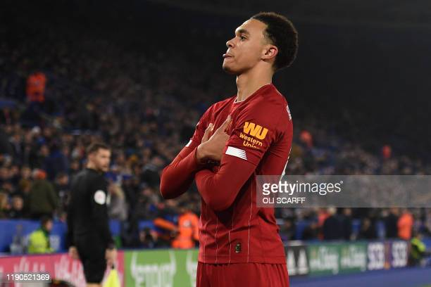 Liverpool's English defender Trent Alexander-Arnold celebrates after scoring their fourth goal during the English Premier League football match...