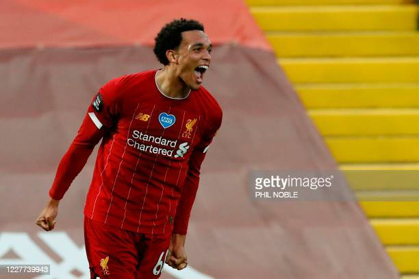 Liverpool's English defender Trent Alexander-Arnold celebrates scoring their second goal during the English Premier League football match between...