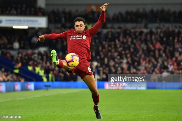Liverpool's English defender Trent AlexanderArnold controls the ball during the English Premier League football match between Brighton and Hove...