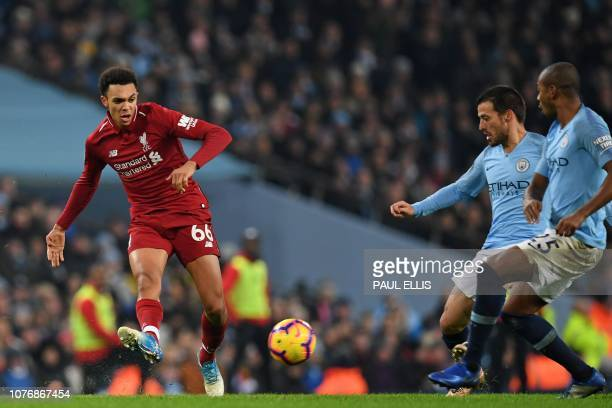 Liverpool's English defender Trent AlexanderArnold has an unsuccessful shot during the English Premier League football match between Manchester City...
