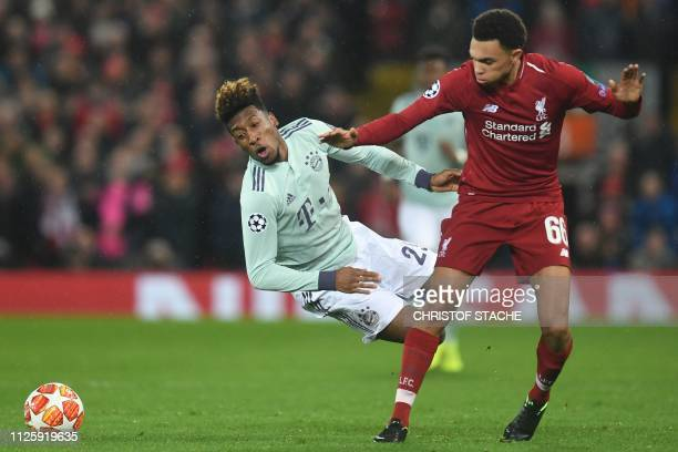 Liverpool's English defender Trent AlexanderArnold vies with Bayern Munich's French forward Kingsley Coman during the UEFA Champions League round of...