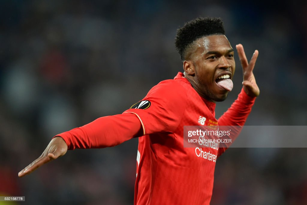 TOPSHOT - Liverpool's English forward Daniel Sturridge celebrates after scoring the first goal during the UEFA Europa League final football match between Liverpool FC and Sevilla FC at the St Jakob-Park stadium in Basel, on May 18, 2016.