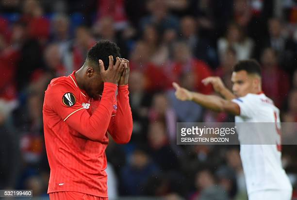 Liverpool's English forward Daniel Sturridge reacts after losing the UEFA Europa League final football match between Liverpool FC and Sevilla FC at...