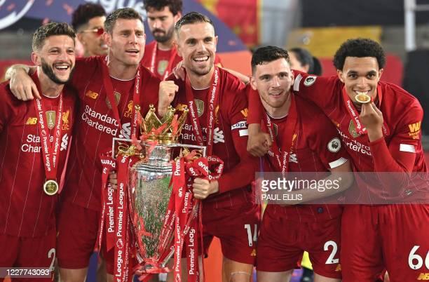 Liverpool's English midfielder Adam Lallana, Liverpool's English midfielder James Milner, Liverpool's English midfielder Jordan Henderson,...