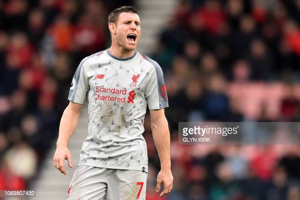 Liverpool's English midfielder James Milner gestures during the English Premier League football match between Bournemouth and Liverpool at the...