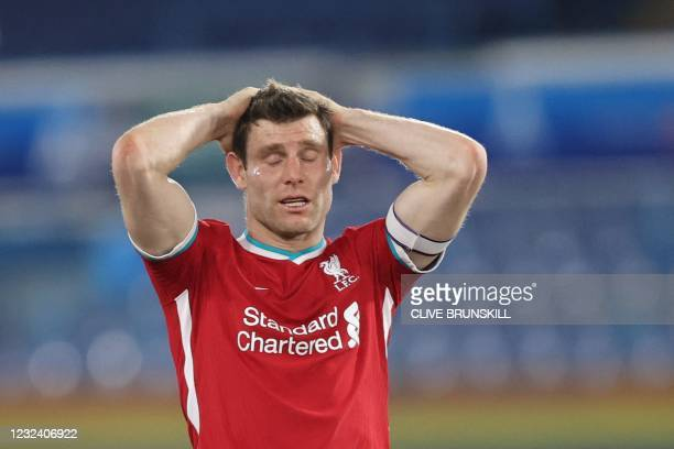 Liverpool's English midfielder James Milner reacts during the English Premier League football match between Leeds United and Liverpool at Elland Road...