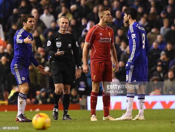 Liverpool's English midfielder Jordan Henderson confronts Chelsea's Brazilianborn Spanish striker Diego Costa during the English League Cup semifinal...