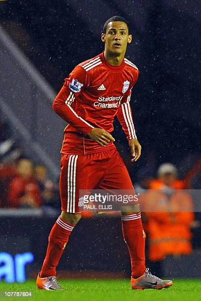 Liverpool's English midfielder Thomas Ince makes his debut during their English Football League football match against Northampton Town at Anfield in...