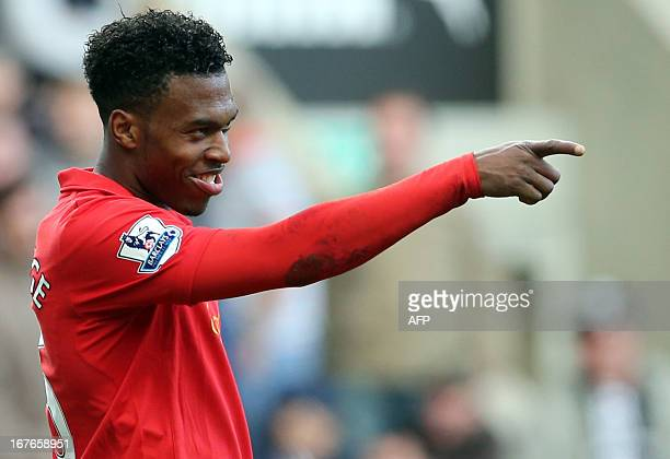 Liverpool's English striker Daniel Sturridge celebrates scoring a goal during the English Premier League football match between Newcastle United and...