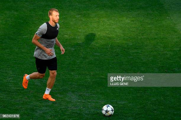 Liverpool's Estonian defender Ragnar Klavan attends a Liverpool team training session at the Olympic Stadium in Kiev Ukraine on May 25 on the eve of...