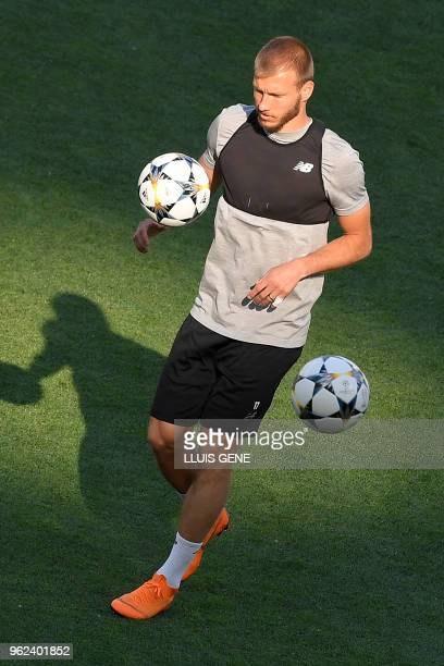 Liverpool's Estonian defender Ragnar Klavan controls the ball during a Liverpool team training session at the Olympic Stadium in Kiev Ukraine on May...