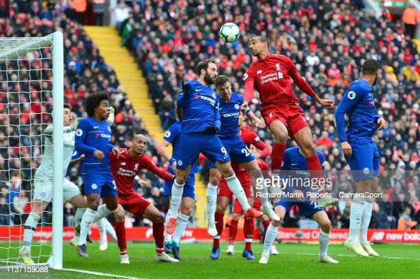 Liverpool's Fabinho goes up for a header in the box during the Premier League match between Liverpool FC and Chelsea FC at Anfield on April 14 2019...