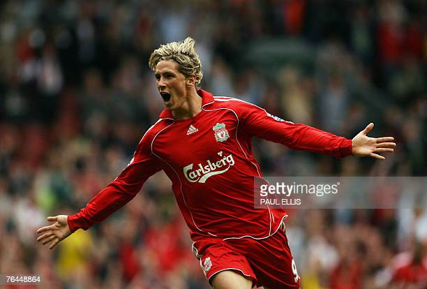 Liverpool's Fernando Torres celebrates scoring against Derby County during their English Premiership football match at Anfield Liverpool northwest...