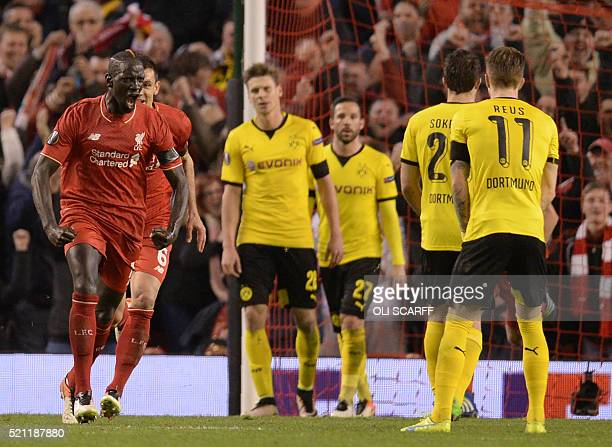 Liverpool's French defender Mamadou Sakho celebrates after scoring during the UEFA Europa league quarterfinal second leg football match between...