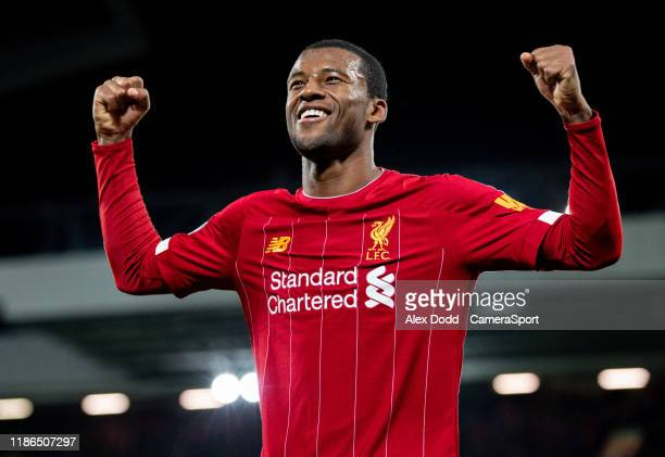 Liverpool's Georginio Wijnaldum celebrates scoring his side's fifth goal during the Premier League match between Liverpool FC and Everton FC at...