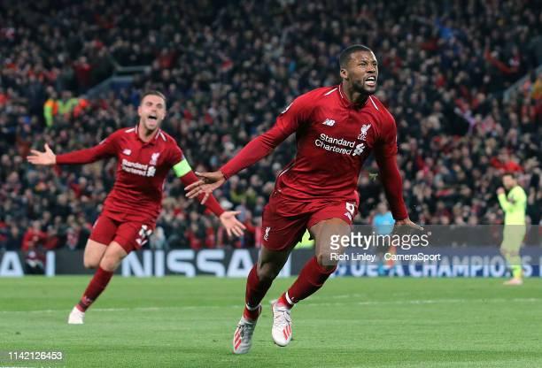 Liverpool's Georginio Wijnaldum celebrates scoring his side's third goal during the UEFA Champions League Semi Final second leg match between...