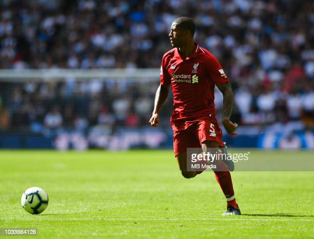Liverpool's Georginio Wijnaldum in action during the Premier League match between Tottenham Hotspur and Liverpool FC at Wembley Stadium on September...