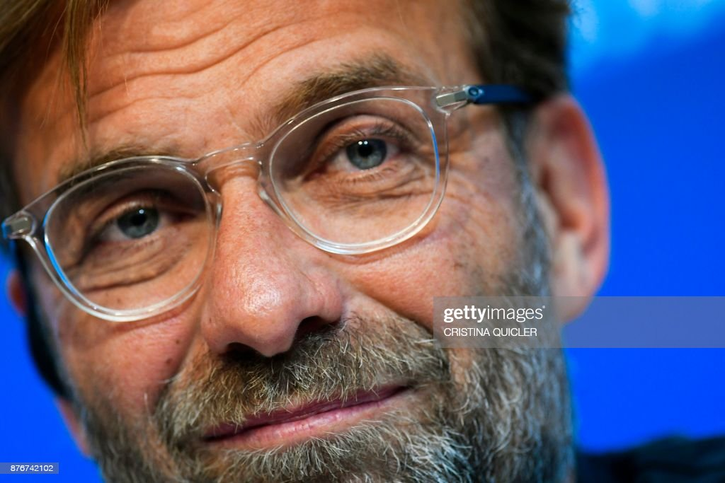 Liverpool's German coach Jurgen Klopp holds a press conference at Ramon Sanchez Pizjuan stadium in Sevilla on November 20, 2017 on the eve of the UEFA Champions League group E football match between Sevilla and Liverpool. /