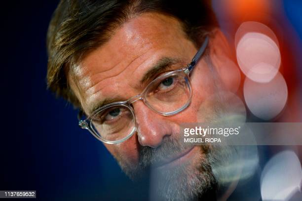 Liverpool's German coach Jurgen Klopp holds a press conference at the Dragao Stadium in Porto on April 16 2019 on the eve of the UEFA Champions...