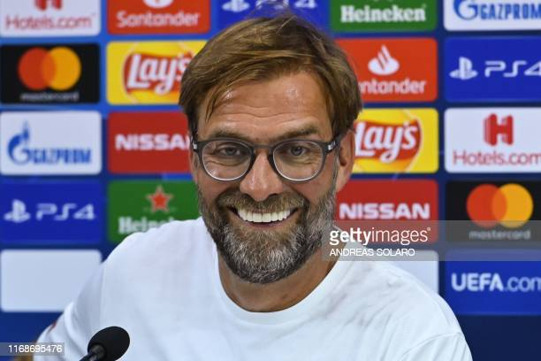 Liverpool's German coach Jurgen Klopp speaks during a press conference at the San Paolo stadium in Naples, on September 16 on the eve of the UEFA...