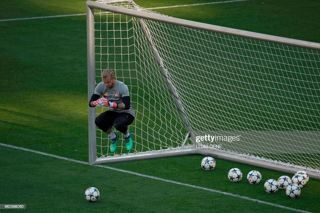 Liverpool's German goalkeeper Loris Karius jumps during a Liverpool team training session at the Olympic Stadium in Kiev, Ukraine on May 25, 2018, on the eve of the UEFA Champions League final football match between Liverpool and Real Madrid.