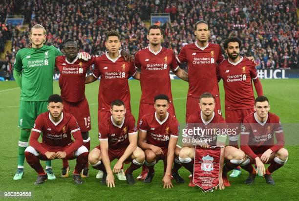 Liverpool's German goalkeeper Loris Karius Liverpool's Senegalese midfielder Sadio Mane Liverpool's Brazilian midfielder Roberto Firmino Liverpool's...