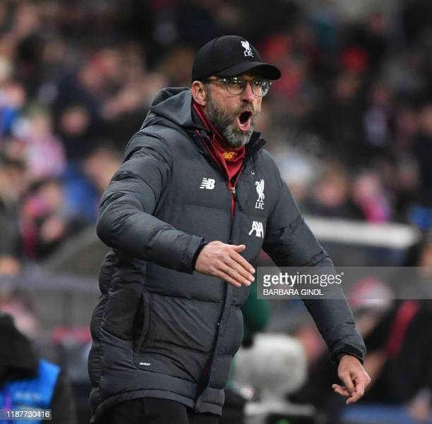 Liverpool's German head coach Juergen Klopp reacts during the UEFA Champions League Group E football match between RB Salzburg and Liverpool FC on...
