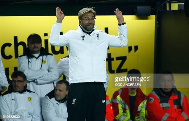 Liverpool's German head coach Jurgen Klopp reacts during the UEFA Europe League quarterfinal firstleg football match Borussia Dortmund vs Liverpool...