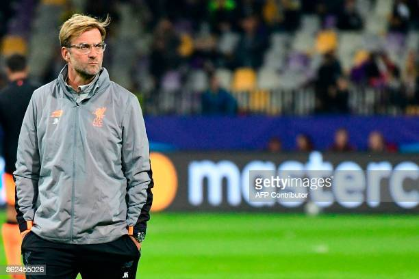 Liverpool's German headcoach Jurgen Klopp looks on prior to the UEFA Champions League group E football match between NK Maribor and Liverpool at the...