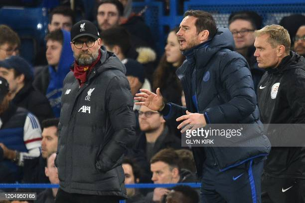 Liverpool's German manager Jurgen Klopp and Chelsea's English head coach Frank Lampard react during the English FA Cup fifth round football match...